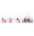 airport check in desk people stand in queue vector image vector image