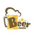 beer house isolated icon mug with foam craft drink vector image vector image