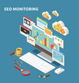blue web seo isometric composition vector image vector image