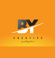 by b y letter modern logo design with yellow vector image vector image