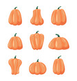 cartoon halloween pumpkin set vector image