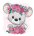 cartoon mouse with flowers on a pink background