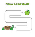 cartoon turtle draw a line game for kids vector image vector image