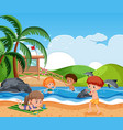 children at beach vector image