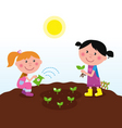children in garden vector image vector image