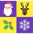 Christmas holiday symbols - santa deer holly and vector image vector image