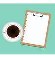 Clipboard and cup of coffee vector image vector image
