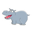 cute cartoon hippopotamus isolated on white vector image vector image