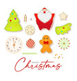 cute christmas elements set with santa claus fir vector image vector image