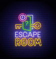 escape room neon sign quest room logo neon vector image vector image
