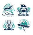 fishing club or trip icons set vector image vector image