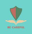 flat icon on stylish background be careful hand vector image