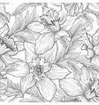 floral seamless pattern flower black and white vector image