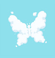 fluffy cloud in form of flying butterfly with vector image vector image