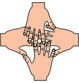 four human hands teamwork unity vector image