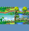 four scenes with river and trees vector image vector image