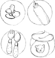 four sketch of baby items