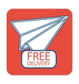 Free delivery icon with paper plane vector image vector image