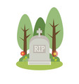 grey gravestone flat tombstone icon vector image
