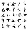 Gymnast athlete silhouette set vector image