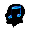 head of man with musical note vector image vector image