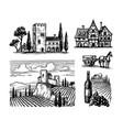 ink sketches rural views vector image