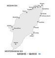 island of rhodes in greece white map vector image vector image