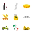 Italy country symbols icons set flat style vector image