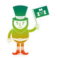 leprechaun character holding green flag with vector image vector image