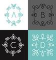 linear set floral frame for text or logo vector image