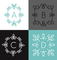 Linear set of floral frame for text or logo vector image vector image