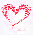 lot pink hearts in heart shape and love you vector image