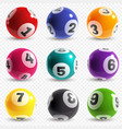 lottery balls lotto game balls with numbers vector image vector image