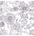 lotus floral seamless pattern hand drawn vector image vector image