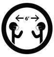 maintain social distancing 6 feet apart wear mask vector image vector image
