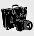 photo camera with retro suitcase vector image vector image