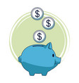 piggy with coins vector image vector image
