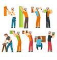 professional workers set handymen characters vector image vector image