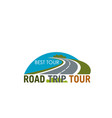 road trip tour symbol design with coastal highway vector image vector image