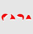 santa hat icon set line red claus hats cap vector image