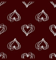 seamless pattern with hatching hearts white on vector image vector image