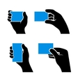 Set of Hands Holding Different Business Cards vector image
