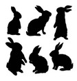 silhouette of a sitting up rabbit vector image vector image