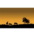 Silhouettes of a zebra and tree against vector image vector image