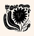 sun flower art folk rural rustic fairytale style vector image