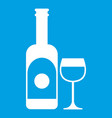 wine and glass icon white vector image vector image