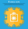 shopping bag Floral flat design on a blue abstract vector image