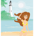 summer beach girl vector image