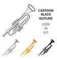trumpet icon in cartoon style isolated on white vector image