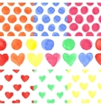 Watercolor colored heartpolka dotBaby seamless vector image